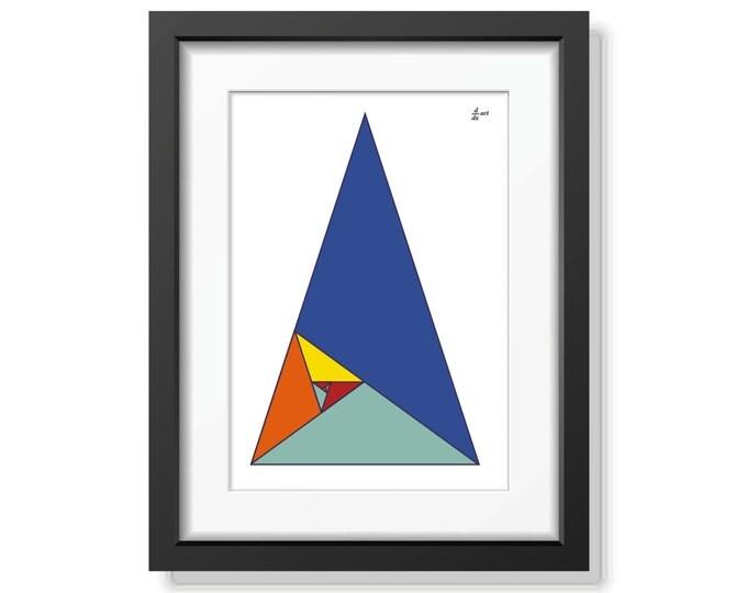 Fibonacci triangles 12 [mathematical abstract art print, unframed]