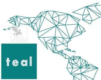 Geometric World Map, Teal World Map, Modern Map Print, Teal Art Print, Geometric Art, PegasusPrintables