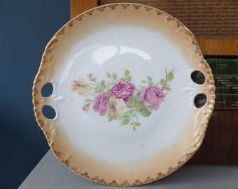 "Antique Cake Plate, Pierced Handles, Circa 1900, Most Likely Prussian, 9.5"", Floral Transferware, Fabulous Vintage Condition"