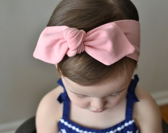 Knotted Bow Headband, Rose Quartz, Pink, Baby Headwrap, Baby Turban,  Child's Turban, Toddler Headwrap, Adult Turban