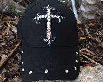 Cross Rhinestone Hat, Black Hats, Cross Hats, Cross Caps, Cotton Hats, Bling Hats, Black Caps, Rhinestone Cross, Zebra Print Hats