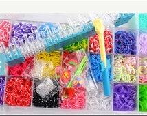 4400pcs, rainbow loom bands DIY rainbow rubber band, bracelet weaving frame