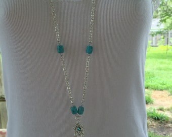 Beautiful Turquoise & Silver Long Necklace