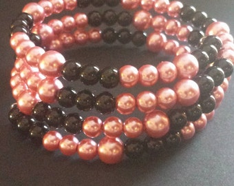 Black and Pink Bead Memory Wire Bracelet