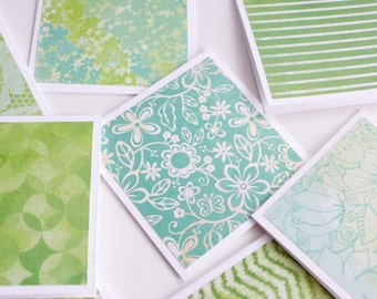Green Pattern Mini Cards with Envelope, Handmade Note Cards, Square Cards, Love Note, Gift Card, Blank Cards, 3x3 Cards