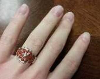 retro orange flower ring