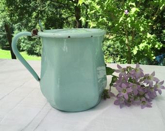 Vintage Enamel Pale Turquoise Jug. Shabby Chic, flower display holder. French Farmhouse / Cottage Chic. Enamelware Pitcher, Pot, 1930s