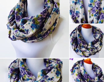 Infinity Cotton Scarf, Purple Infinity Scarf, Floral Scarf, Fashion Scarf, Boho Scarf, Women's Scarf, Loop Scarf, Gift For Her, Circle scarf