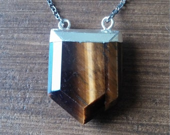 Tigers Eye Shield Double Bail Pendant Necklace Silver Ascension888 Protection Third Eye Kemetic Jewelry Gemstone Healing Crystal Chakra