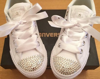 Kids All White Swarovski Crystal Leather Converse Bridesmaid, flowergirl