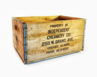 Vintage Wood Crate, Dairy Crate, Independent Creamery Co. Crate, Dairy Box, Wooden Crate, Wood and Metal Crate, Rustic Crate, Storage Crate