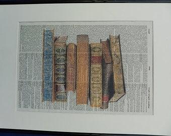Books Print No.115, book stack poster, book stuff, books, books decor, boyfriend gift, girlfriend gift, wife gift