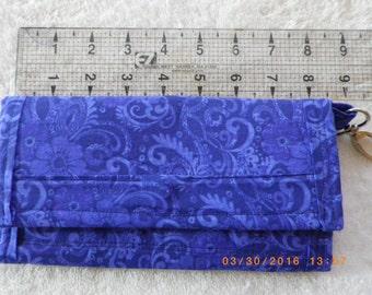 BluePurple Wallet w key ring, wallet, key ring,fabric, handmade, change purse