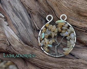 Flashing Labradorite Tree of Life Pendant //  Silver Wire Wrapped Tree of Life Necklace Jewelry Witchy Pagan Magical