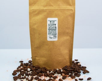 Himalayan Rock Salt Vegan Coffee Body Scrub - 100% Natural, Cruelty Free, Paraben Free, Handmade, GMO Free