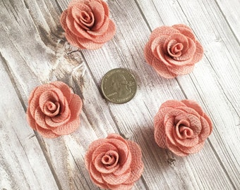 blush burlap flowers - Set of 5 - Crafting roses - Craft supply flowers - 1 3/4 inch - DIY headband - Crafting supplies - Burlap roses