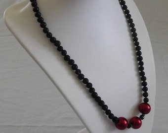 Red Bead & Lava Stone Necklace
