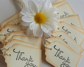 Thank you gift tags, Favor tags, Thank you tags, Thank you favor tags, Vintage style tags, Set of 12