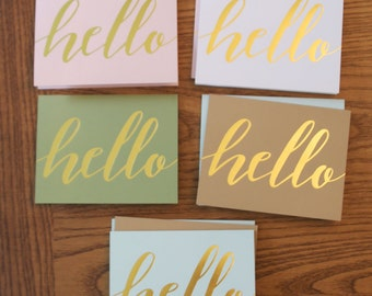 gold foil hello notecard set | handwritten notecard | hello card | gold foil card | calligraphy notecard set | gold foil notecards
