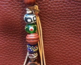 SALE - Boho Purse Charm, Bag Charm, Zipper Pull, Keychain - FREE SHIPPING