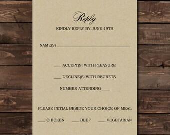 Pine Tree Wedding Reply Card Printable - Wedding Invite with Pine Tree RSVP