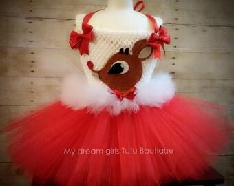 Christmas tutu dress, Rudolph the red nose reindeer Christmas dress, red and white tutu, tutu de Navidad, christmas dress, Rudolph dress