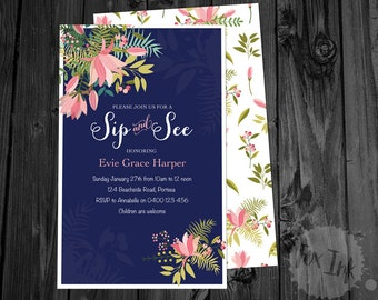 Sip & See OR Baby Shower Invitations Printed