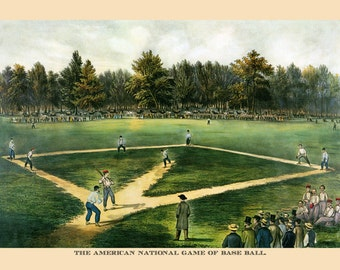 Baseball The American National Game by Currier and Ives Vintage Poster Repro Free S/H in USA