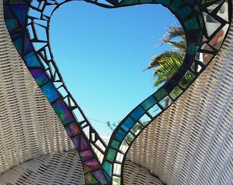 Mosaic Stained Glass Mirror Heart