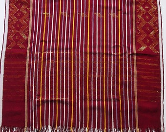 """Vintage West Sumatra Indonesian Hand-Woven Textile Runner Sarong with Metallic Thread 64"""" x 27.5"""""""