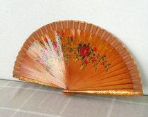 Vintage handpainted fan Spanish wooden hand fan Decorative fan Hand held fan with roses Collectible Folding fan art Women acccessories