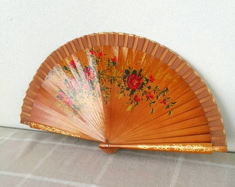 Vintage handpainted fan Spanish wooden hand fan Decorative fan Hand held fan with roses Collectible Folding fan art Women acccessories