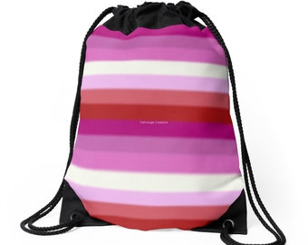 Drawstring Backpack, Bag, Totebag - Lesbian Pride Flag v2, Gay Pride, LGBTQ