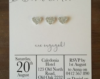 """Engagement Party Invitations Handmade Personalised """"SPARKLING HEART"""""""