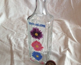 Painted Recycled Floral Glass Bottle