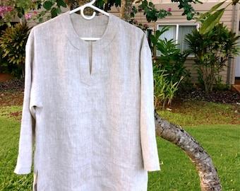 100% Linen Long Sleeve Tunic for Messianic Men w/ Corners for Tzitzit Tassels - Caleb Tunic - Mix Natural