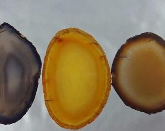 Natural Brazil Agate Slices Geode Polished Slab Quartz Lot (5) - N1