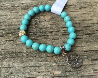 Turquoise Gemstone Elastic Bracelet
