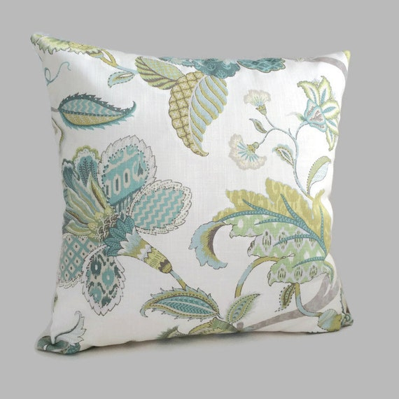 Throw Pillow In French : Jacobean Pillow French Country Throw Pillow Blue Green