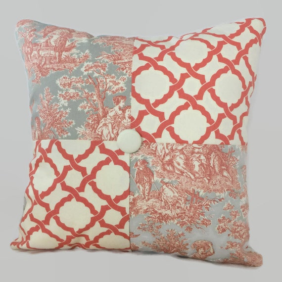 sale toile decorative throw pillow cushion cover coral gray. Black Bedroom Furniture Sets. Home Design Ideas