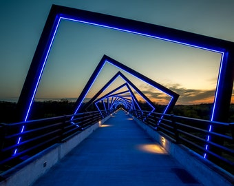 High Trestle Trail Bridge - Des Moines River - Madrid, IA - Iowa bike trails - sunset - canvas print