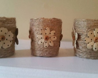 votive candle holder,candle holder, twine candle holder, flower candle holder, Rustic Wedding, Rustic Wedding Decor, Twine candle