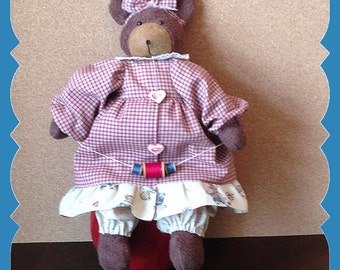 Fabric-Bear-Animal-Doll-Country-Whimsy-Accent-Folk Art-Mother's Day-House Warming-Gift-New Home