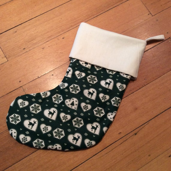 Christmas Stockings, Quality Padded and Lined, 55cm Long, Calico & Brunswick Green