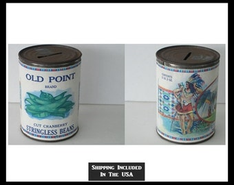 Antique Maine Vegetable Can/Coin Bank Superb Graphics