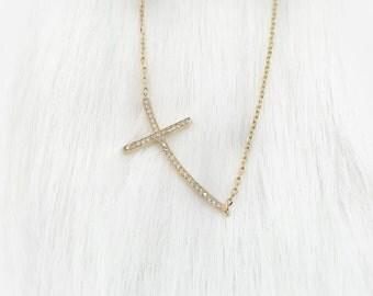 Horiz-Cross Necklace - Gold