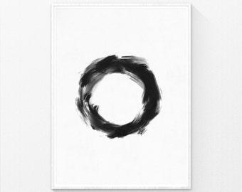 Japanese Art, Minimalist Painting, Zen Decor, Black and White Art, Zen Circle, Black and White Decor, Brush Painting, Zen Print, Zen Art