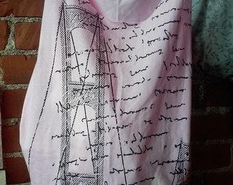 Pink, cursive t-shirt bag