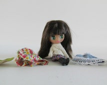 Vintage Miniature Blythe Doll with her own Vintage Wardrobe - Vintage Blythe Doll Clothes - Handmade Doll Clothes - Blythe Dresses Skirts