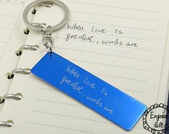 Customized Engraved Handwriting, your handwritten,Childern Doodle Car Plate Shape Steel Key Ring key holder